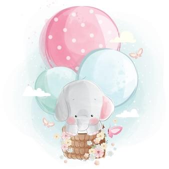 Netter elefant, der mit ballonen fliegt