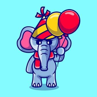 Netter elefant, der mit luftballons ein frohes neues jahr oder geburtstag feiert