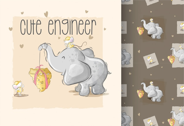 Netter elefant, der mit nahtlosem muster der babymaus palying ist