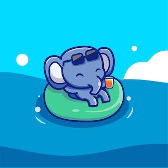 Netter elefant, der mit schwimmenden reifen schwimmt