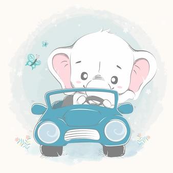 Netter elefant fahren eine gezeichnete autokarikaturhand