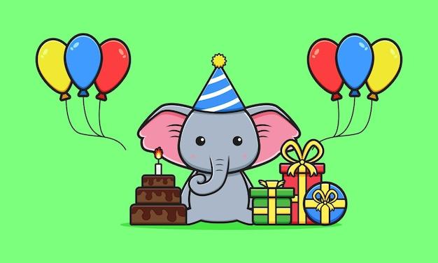 Netter elefant feiern geburtstagsfeierkarikaturikonenillustration. entwerfen sie isolierten flachen cartoon-stil