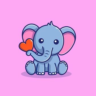 Netter elefant halten liebesikonenillustration. elefant maskottchen cartoon charakter. tierikon-konzept isoliert