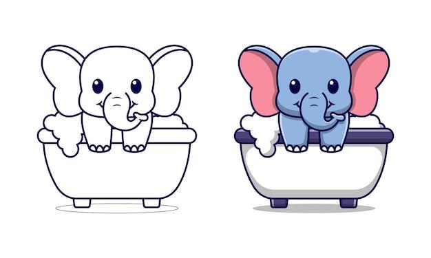 Netter elefant im bad cartoon malvorlagen für kinder