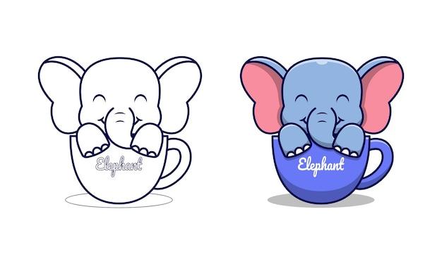Netter elefant im becher cartoon malvorlagen für kinder