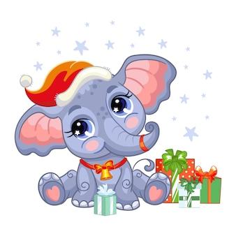Netter elefant in einer weihnachtsmütze mit geschenken und sternen. vektor-illustration.