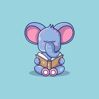 Netter elefant las eine buchkarikaturillustration