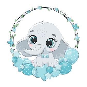 Netter elefant mit ballon und kranz. illustration für babyparty.