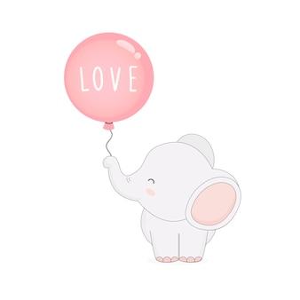 Netter elefant mit ballonen. valentinstagskarte.