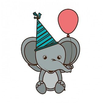 Netter elefant mit ballonhelium