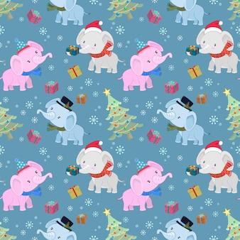 Netter elefant mit geschenk und nahtlosem muster des weihnachtsbaums.