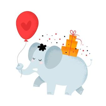 Netter elefant mit geschenkbox und ballon mit herzen. alles gute zum geburtstagskarte