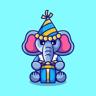Netter elefant mit hut und geburtstagsgeschenk