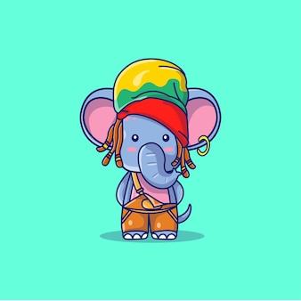Netter elefant mit hutkarikaturillustration
