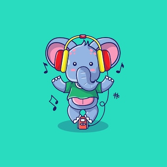 Netter elefant mit kopfhörerkarikaturillustration