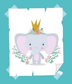 Netter elefant mit krone