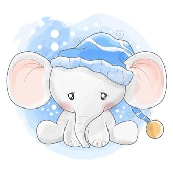 Netter elefant mit schlafpyjama
