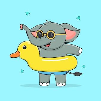 Netter elefant mit schwimmender gummiente und sonnenbrille