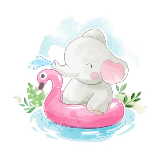 Netter elefant mit schwimmring in der kleinen teichillustration