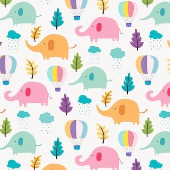 Netter elefant-muster-hintergrund für kinder.