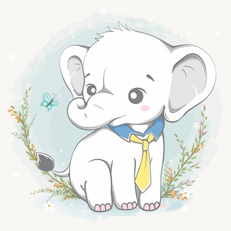 Netter elefant tragen krawattenkarikaturhand gezeichnet