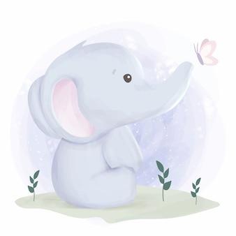Netter elefant und schmetterling