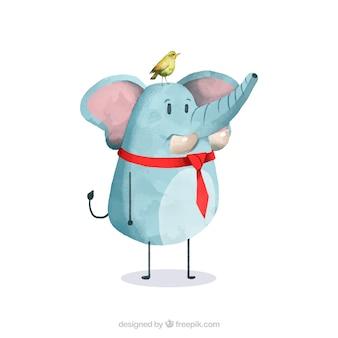 Netter elefant und vogel