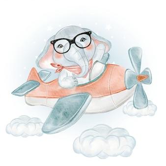 Netter elefantenbaby auf einem flugzeug auf den wolken