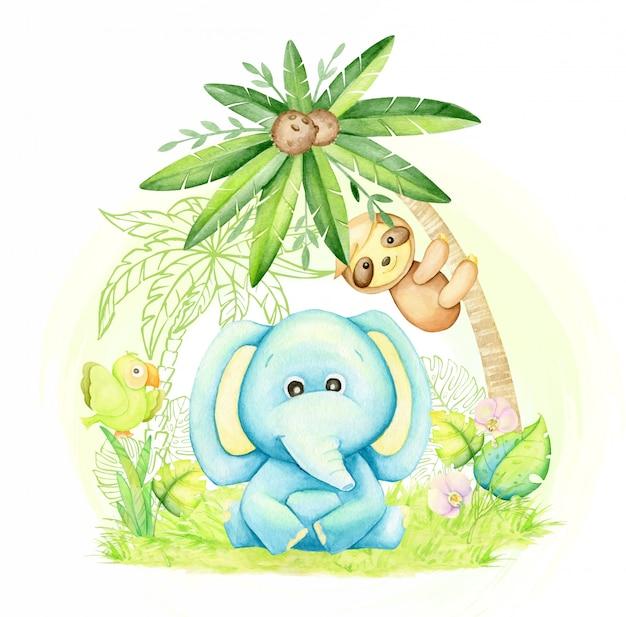 Netter elefantenbaby, blaue farbe, sitzend unter einer palme, neben einem faultier und einem papagei. aquarellkonzept mit tropischen tieren im karikaturstil.