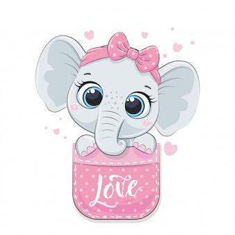 Netter elefantenbaby in der tasche.