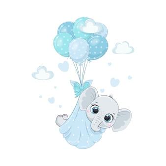 Netter elefantenbaby in windeln auf den luftballons