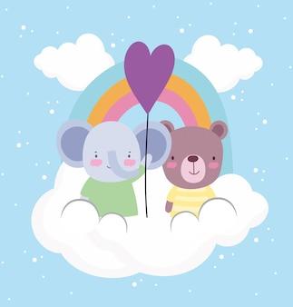Netter elefantenbärballonregenbogen. cartoon-stil