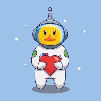 Netter enten-astronaut, der liebesballons in der raumkarikatur-vektor-illustration hält. freies designkonzept isoliert premium-vektor
