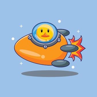Netter enten-astronaut, der rakete reitet, hergestellt von ei-karikatur-vektor-illustration. wissenschaft technologie design konzept isoliert premium-vektor