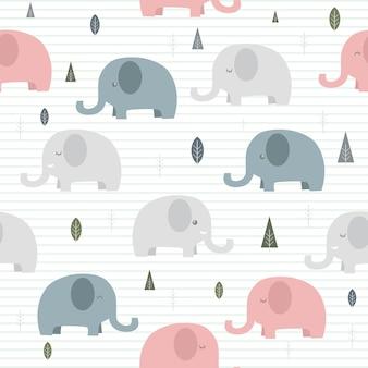 Netter entzückender elefantkarikatur auf linien nahtlose mustertapete