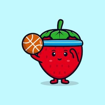 Netter erdbeercharakter, der flache ikonenillustration des basketballs spielt