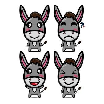 Netter esel set sammlung vektor-illustration esel maskottchen charakter flachen stil cartoon