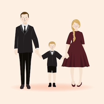 Netter familienporträtcharakter, vater, mutter und sohn in der formellen outfit-partei