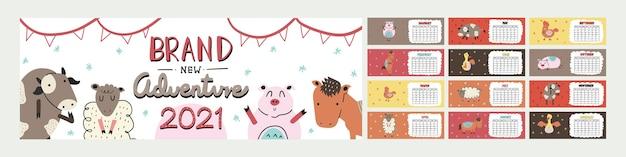 Netter farbiger horizontaler kalender mit lustiger tierfarm-tier-illustration im skandinavischen stil