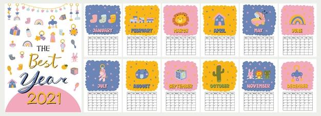 Netter farbiger wandkalender mit lustiger baby-dusch-illustration im skandinavischen stil