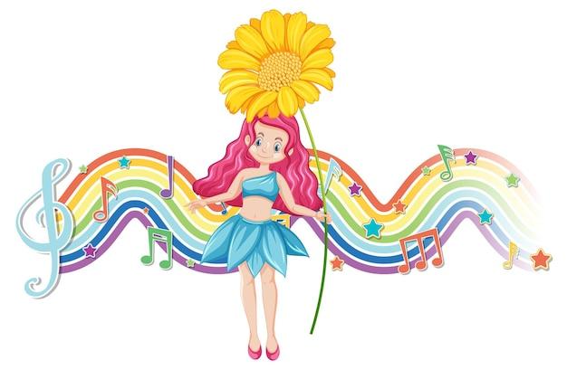 Netter feenhafter zeichentrickfilm-figur mit regenbogenwelle