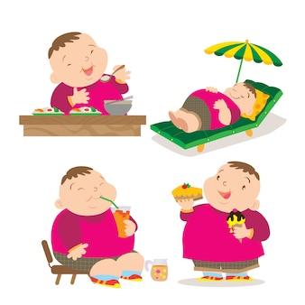Netter fetter junge, der tätigkeit isst