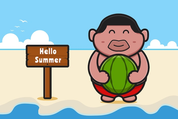 Netter fetter junge, der wassermelone mit einer sommergrußfahnenkarikaturikonenillustration hält.