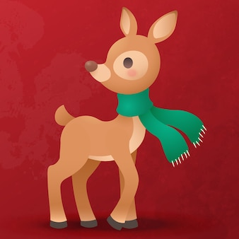 Netter flacher cartoon des rentierjungen für weihnachtsdekoration