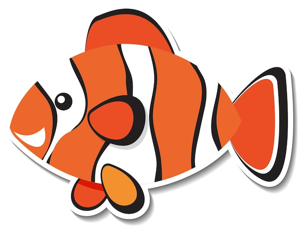Netter flacher clownfisch-cartoon-aufkleber