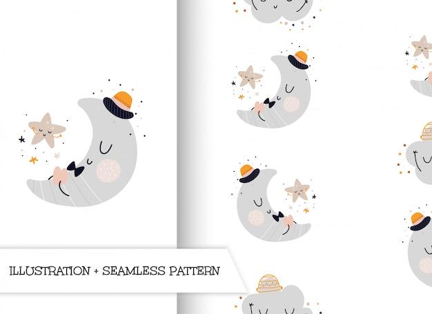 Netter flacher illustrationsmond der karikatur mit muster