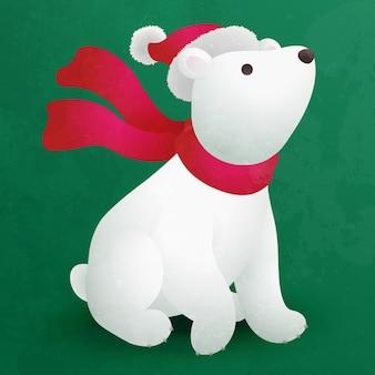 Netter flacher karikatur des eisbärenjungen für weihnachtsdekoration