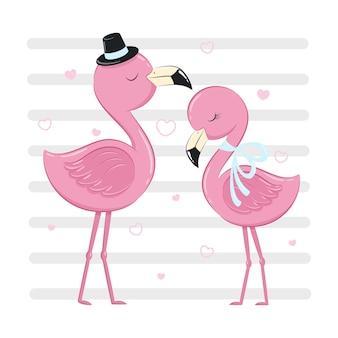 Netter flamingo junge und mädchen mit herzen