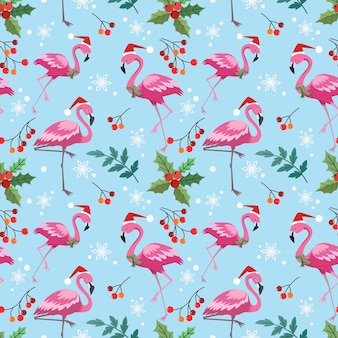 Netter flamingo mit nahtlosem muster der weihnachtspflanze.
