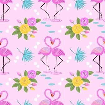 Netter flamingo mit rosafarbener blume und weißen herzen auf rosa hintergrund.